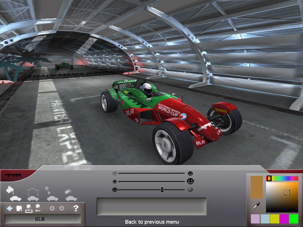 TrackMania Nations ESWC Windows Apply custom paint to your car.
