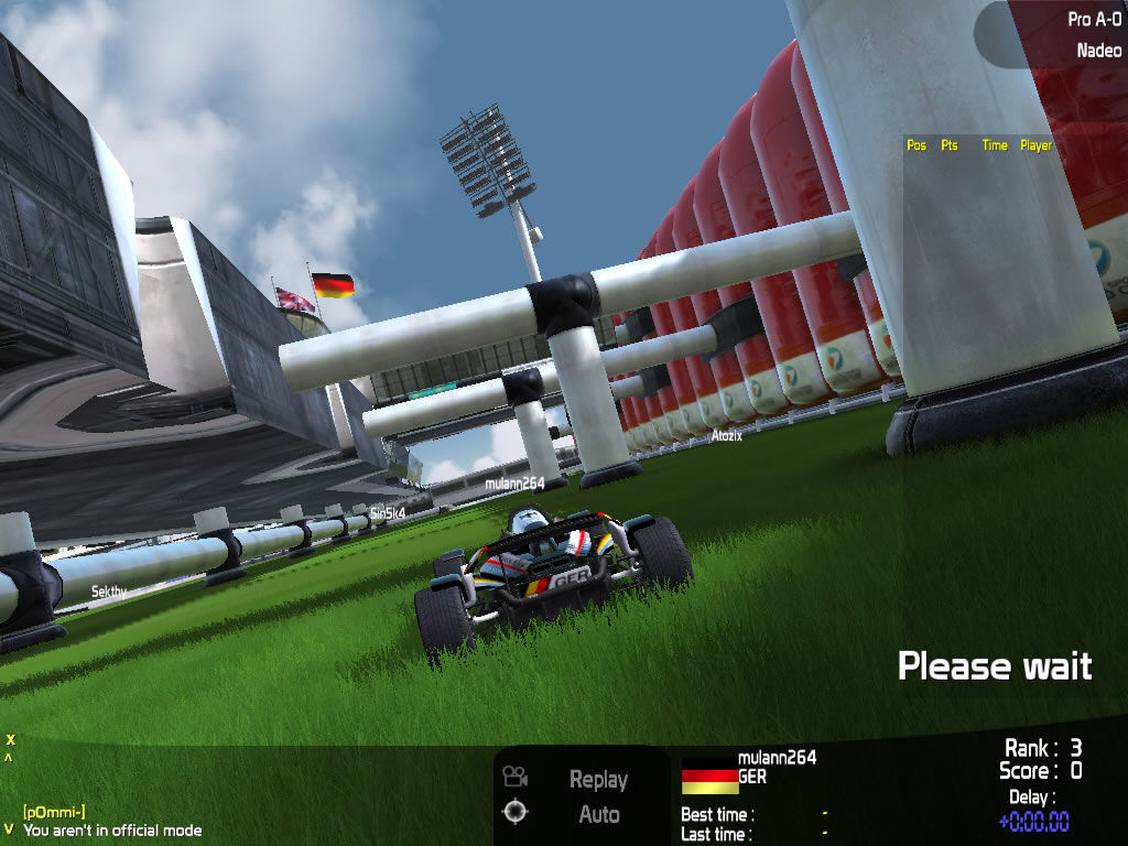 TrackMania Nations ESWC Windows Tracking a German player racing through the grass.