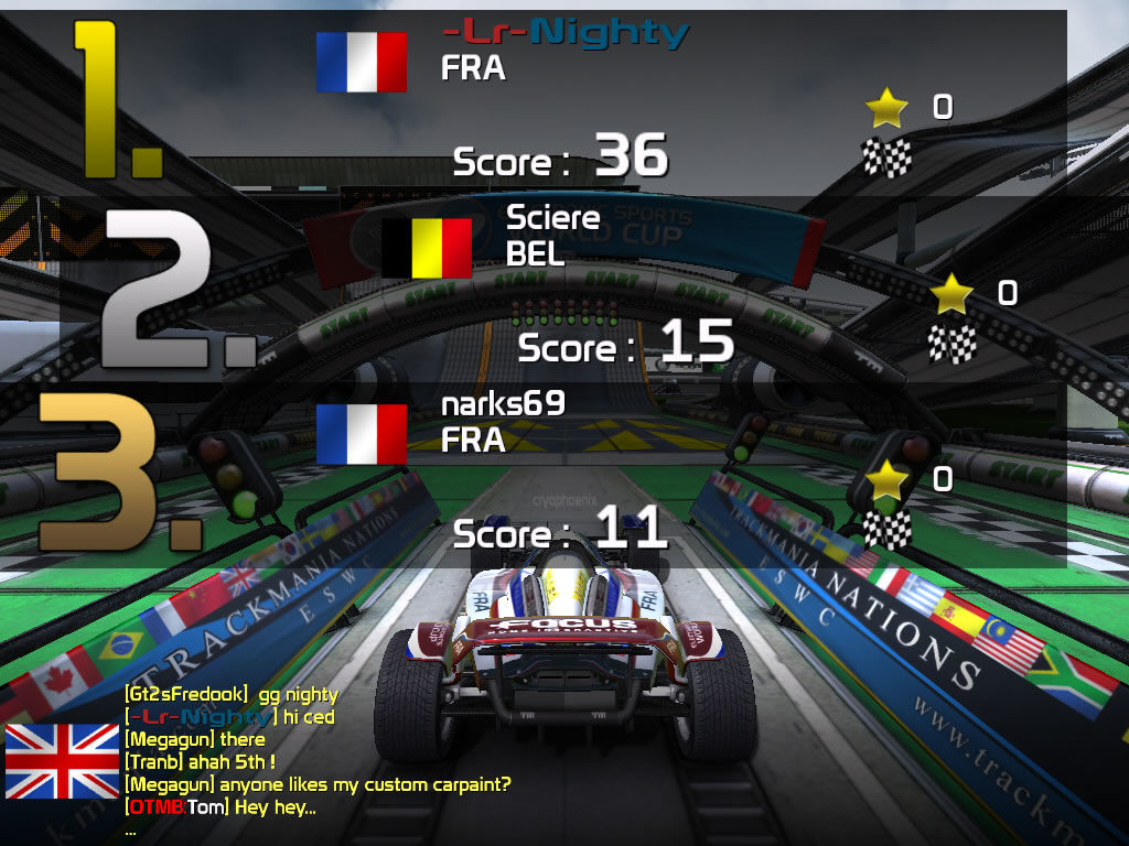 TrackMania Nations ESWC Windows Final scores screen in the rounds mode