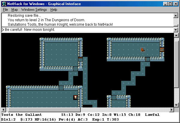 NetHack Windows Since Toots the Gallant is riding his saddled pony,  only the pony's graphic is seen on the screen.