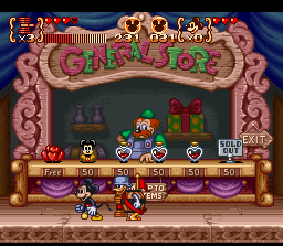 Disney's Magical Quest 3 starring Mickey & Donald SNES General Store: buy items and upgrades
