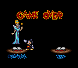 Disney's Magical Quest 3 starring Mickey & Donald SNES Losing too many lives will take you to this screen.