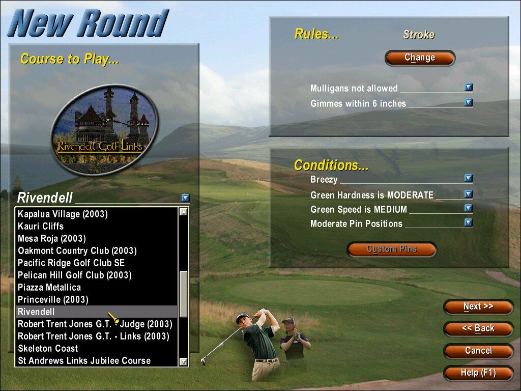 Links 2003 Windows Links 2003 comes with 6 golf courses.  You can download hundreds more off the internet, however, including imaginary courses.