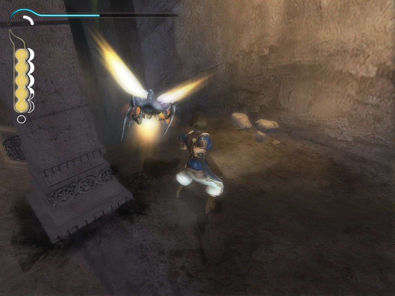 Prince of Persia: The Sands of Time Windows Fighting with a scarab.