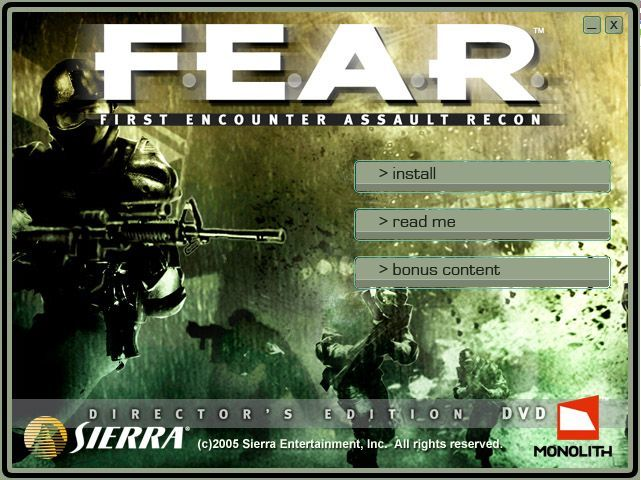 F.E.A.R.: First Encounter Assault Recon (Director's Edition) Windows Director's Edition Install Menu