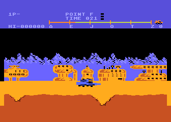 Moon Patrol Atari 8-bit Jumping over a crater