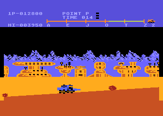 Moon Patrol Atari 8-bit Watch out for these boulders coming at you!