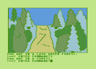 Hi-Res Adventure #4: Ulysses and the Golden Fleece Atari 8-bit I'm somewhere in a lush green forest