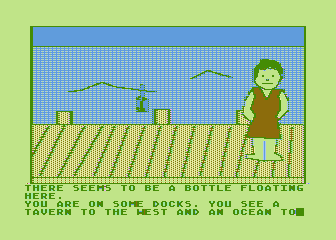Hi-Res Adventure #4: Ulysses and the Golden Fleece Atari 8-bit Hmm, there's a bottle floating in the water...