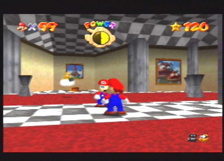 Super Mario 64 Nintendo 64 Mario checks out his 'tache in the mirror. Look at Lakitu the camera man in the background!