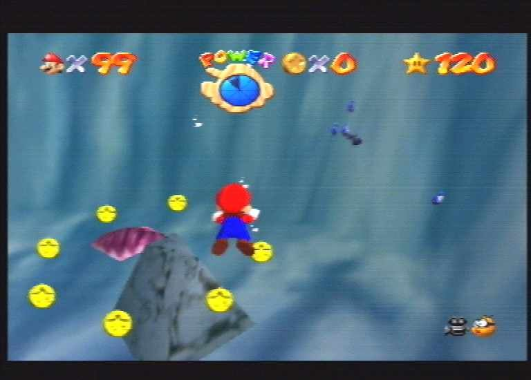 Super Mario 64 Nintendo 64 Mario goes scuba diving.
