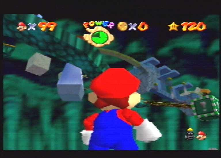 Super Mario 64 Nintendo 64 The first bowser level. Viewed from below.