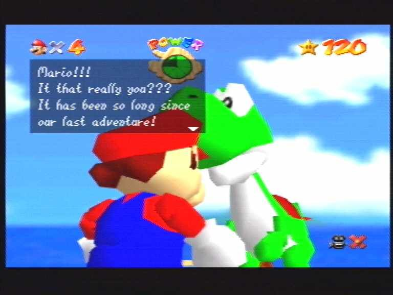 Super Mario 64 Nintendo 64 When you get all 120 stars, you get to meet Yoshi! The little dude even gives you 99 lives into the bargain!