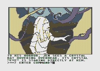 Hi-Res Adventure #6: The Dark Crystal Atari 8-bit Lost in a swamp with cystal bats flying overhead...