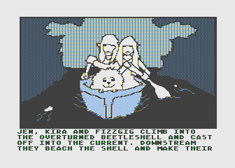 Hi-Res Adventure #6: The Dark Crystal Atari 8-bit Floating down river on a shell