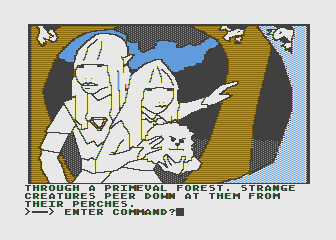 Hi-Res Adventure #6: The Dark Crystal Atari 8-bit Strange creatures watch your every move