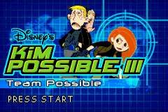 Kim Possible 3: Team Possible Game Boy Advance Title screen.