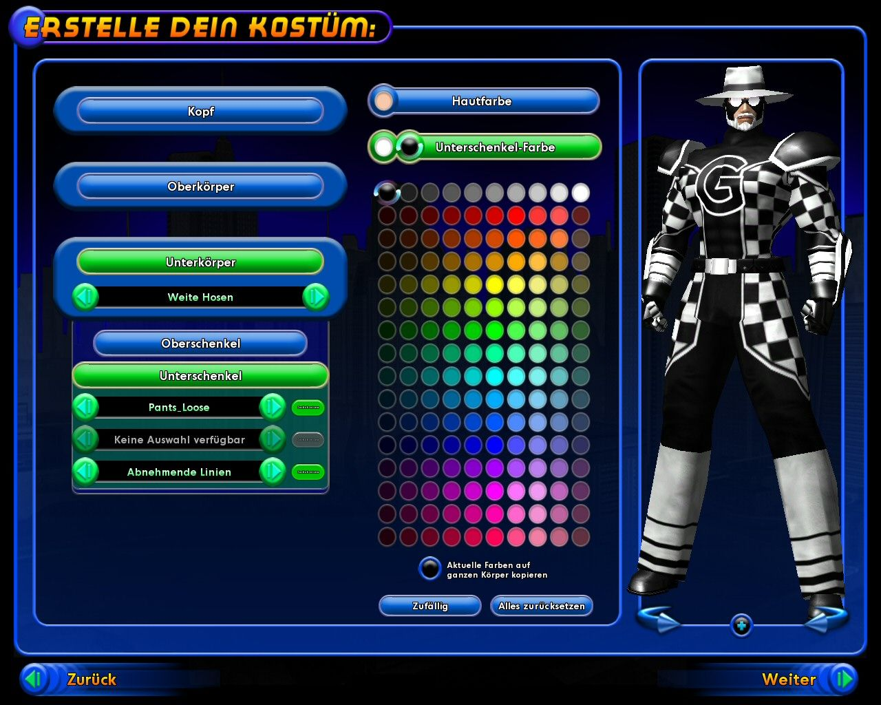 City of Heroes (Deluxe Edition) Windows The character designer gives you a wide variety of options for your costume.