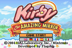 Kirby & The Amazing Mirror Game Boy Advance Title Screen