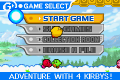 Kirby & The Amazing Mirror Game Boy Advance Main Menu: Select to start game, play a sub-game, view your collection or erase all data