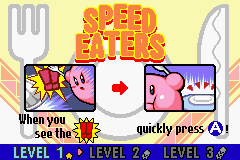 Kirby & The Amazing Mirror Game Boy Advance Speed Eaters: Each sub-game start of with instructions on how to play.