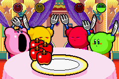 Kirby & The Amazing Mirror Game Boy Advance Speed Eaters: Be the first to eat the plate of apples to win.  Make sure to not press A too soon or too late!
