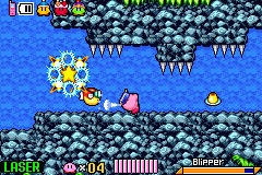 Kirby & The Amazing Mirror Game Boy Advance When under water, Kirby will automatically change into his scuba-gear.  Kirby can blow water at his enemies.