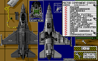 F-16 Combat Pilot Amiga System status of the F-16