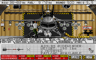 F-16 Combat Pilot Amiga Load your F-16 with missiles, bombs, fuel tanks, recon pods...
