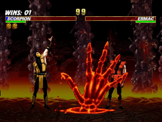 Mortal Kombat Trilogy PlayStation Now a stunned Ermac is about to be exterminated by Scorpion's ground-skeletal-burning-hand Fatality!