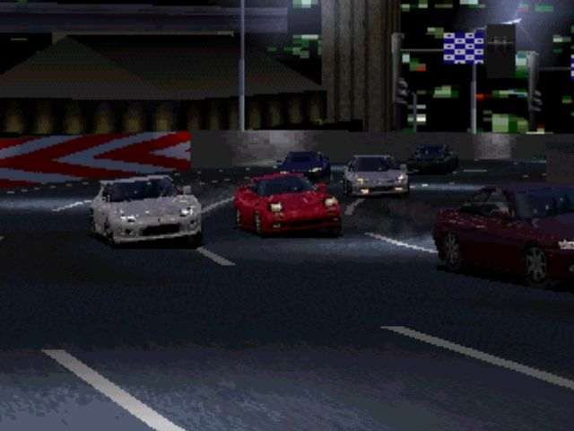 Gran Turismo PlayStation Night rider. Some tracks take place at night and feature some nice lighting effects.