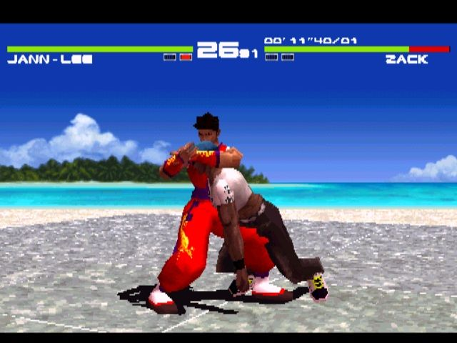 Dead or Alive PlayStation Clone Wars. Bruce Lee clone Jann-Lee puts a headlock on the Dennis Rodman wannabe, Zack.
