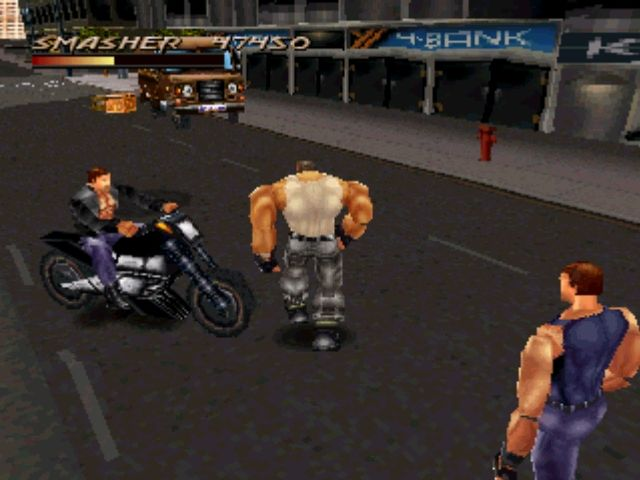 Fighting Force PlayStation Start seeing motorcycles...otherwise you may get run over by them...
