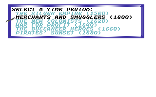Sid Meier's Pirates! Commodore 64 Selecting a time period