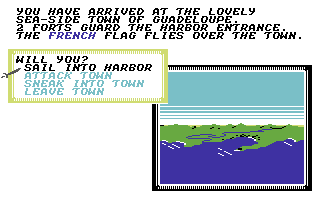 Sid Meier's Pirates! Commodore 64 Options for entering (or leaving) a town