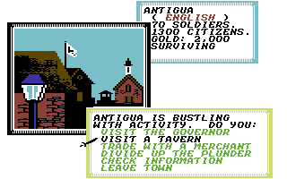 Sid Meier's Pirates! Commodore 64 Town options