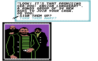 Sid Meier's Pirates! Commodore 64 In taverns, you can hire new men ...