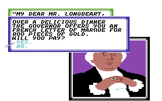 Sid Meier's Pirates! Commodore 64 Visiting the mayor of a town is often useful