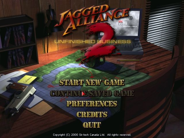 Jagged Alliance 2: Unfinished Business Windows Title Screen.