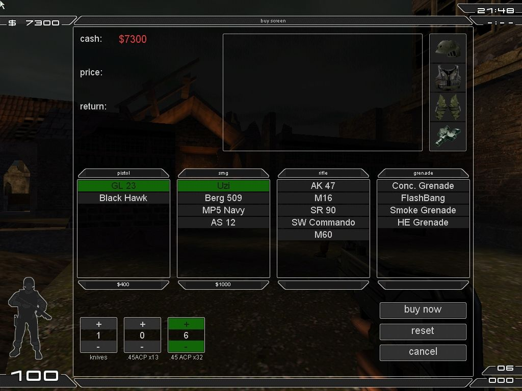 Tactical Ops: Assault on Terror Windows Buy screen (all items disposed in the same screen)
