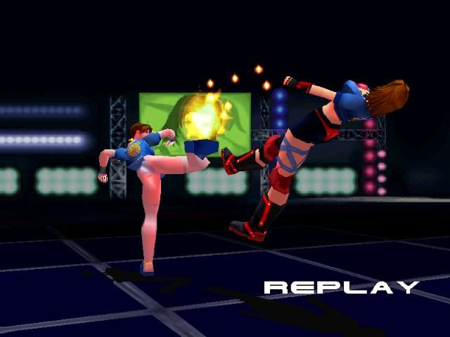 Dead or Alive PlayStation Replay shows the last move before the opponent goes K.O.