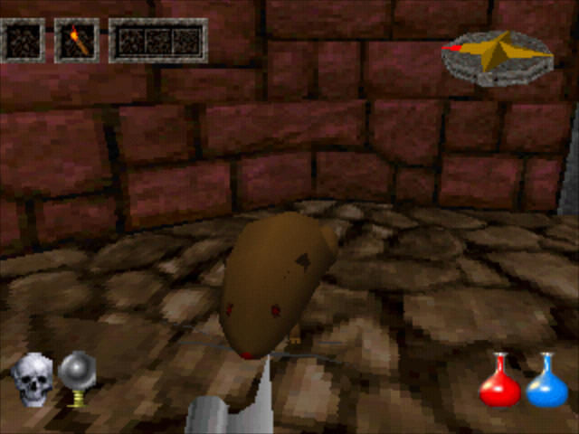 Ultima Underworld: The Stygian Abyss PlayStation First encounter: a rat... what a surprise.
