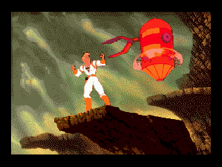 Space Ace SEGA CD Dexter getting attacked by a robot