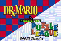 Dr. Mario & Puzzle League Game Boy Advance Title screen.