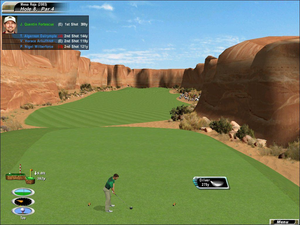 Links 2003: Championship Courses Windows The 8th hole of the fictional Mesa Roja course snakes its way through a series of mesas and canyons.