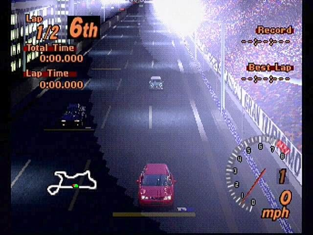 Gran Turismo 2 PlayStation Midnight Racer. Lining up for a late night jaunt through a downtown highway.