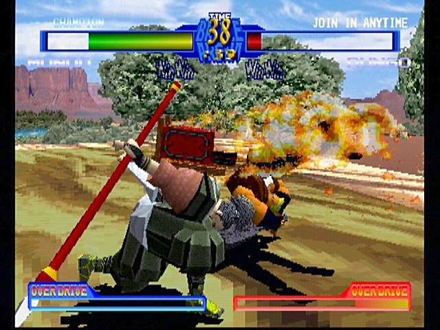 Battle Arena Toshinden 2 PlayStation My backpack goes boom! Mondo has a few surprises up his sleeve, like this hidden cannon...