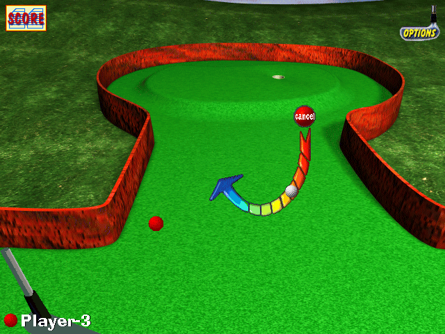 "3-D Ultra Minigolf Windows Optional ""power bar"" swing strength indicator"