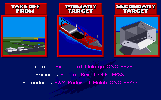 F-15 Strike Eagle II Amiga Your mission objectives
