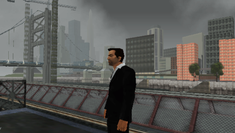 Grand Theft Auto: Liberty City Stories PSP At a El Train station on Portland looking across at Staunton Island and the under construction Callahan Bridge.